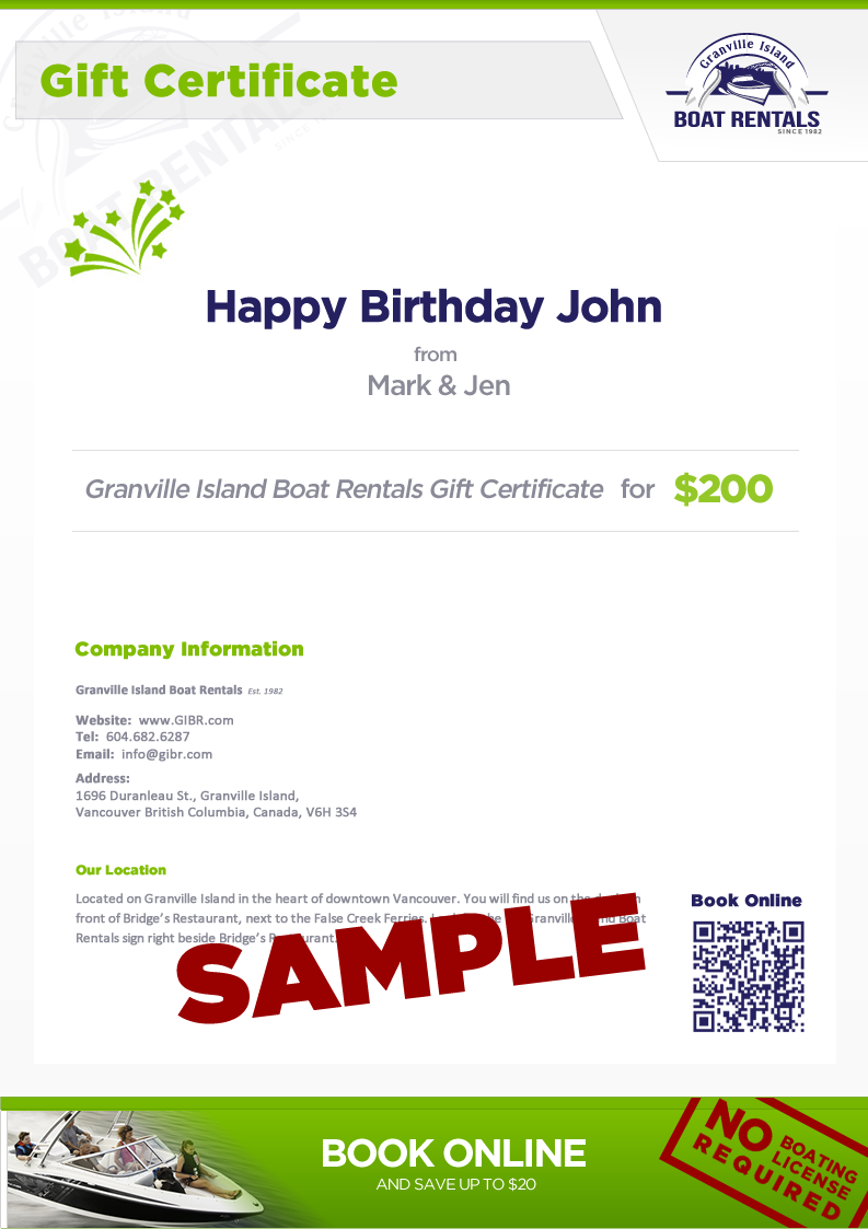 Sample Boat Rental Gift Certificate