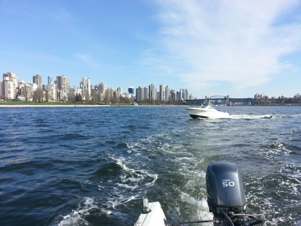 City view from 16ft boat vancouver