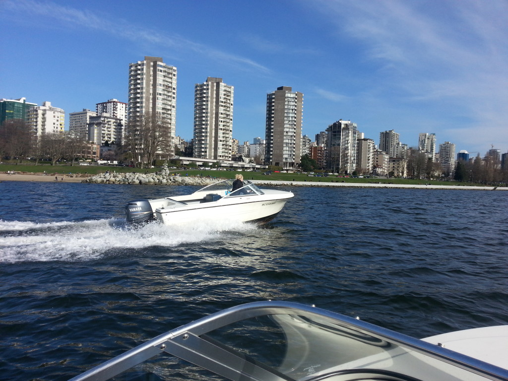 West End view from 17ft rental boat english bay