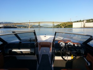Approaching the Second Narrows bridge on an 18ft boat
