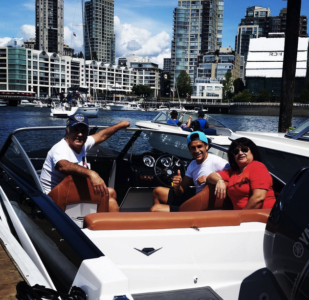 Matias Laba and his parents at Granville Island Boat Rentals