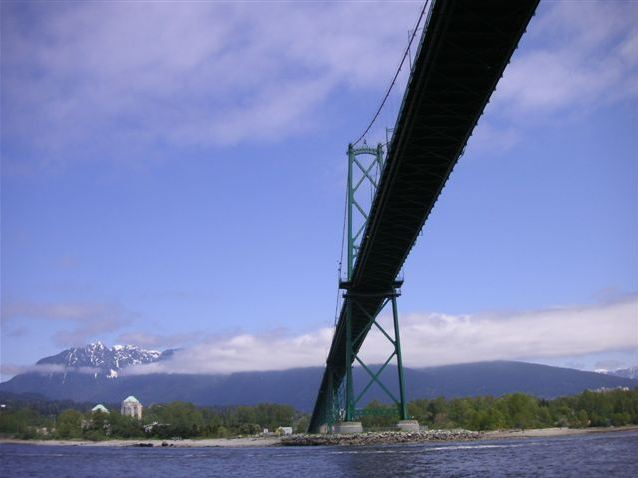 View from our boat under Lions Gate Bridge