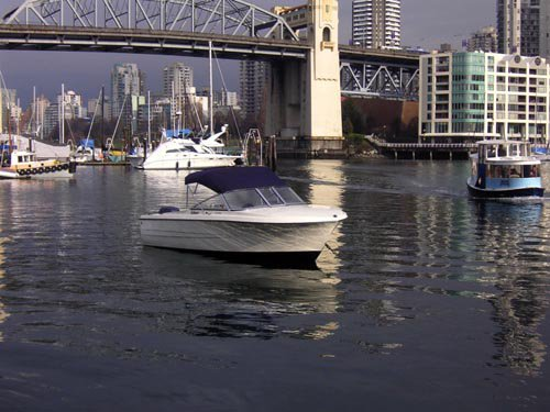 Rental boat in false creek